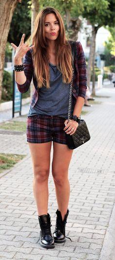 Plaid jacket and plaid shorts