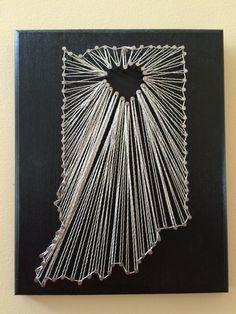 Indiana string art, state string art, string art, Indiana art by GardnerGirlStringArt on Etsy https://www.etsy.com/listing/224335274/indiana-string-art-state-string-art