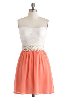 Gazebo Gala Dress - Short, White, Coral, Crochet, Lace, Pearls, Daytime Party, A-line, Strapless, Sweetheart, Cutout, Girls Night Out, Pastel