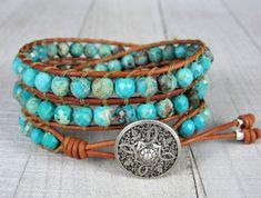Bohemian Beaded Three Wrap Bracelet For Women - Gemstone and Leather Wrap Bracelet - Turquoise Bracelet - Gift for Her Beaded Wrap Bracelets, Bracelets For Men, Beaded Jewelry, Handmade Jewelry, Turquoise Beads, Turquoise Bracelet, Bracelet Designs, Leather Jewelry, Gifts For Her