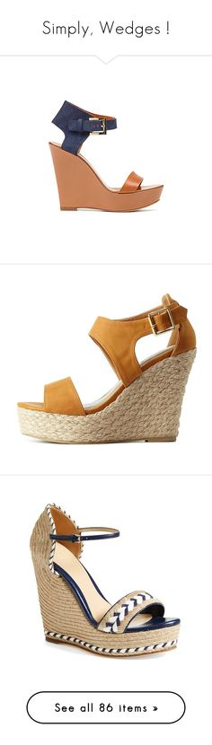 """Simply, Wedges !"" by ljubily ❤ liked on Polyvore featuring shoes, sandals, heels, wedges, zapatos, camel, strappy heeled sandals, strap sandals, wedge espadrilles and heeled sandals"