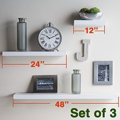 New Venice Floating Wall Shelf Set Of 3 12 24 And 36 White Shelves