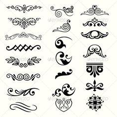 Design Elements - Flourishes / Swirls Decorative - Trend Home Design Ideen 2019 Art Nouveau Design, Design Art, Logo Design, Graphic Design, Vector Design, Stencil Designs, Henna Designs, Arte Art Deco, Floral Frames