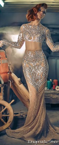 Lovely nude with sequin detail gown for Charbel Zoe Fall-Winter 2014-2015 Couture jaglady
