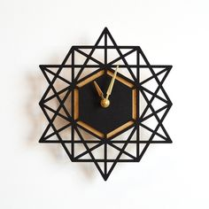 Gilded Gold Office I love geometrics. Clean lines, modern, cool feel. this clock is forfeous! Brika Geometric Wall Clock Source by thehivenation. 3d Laser Printer, Laser Cutter Projects, Gold Office, Diy Casa, Wall Clock Design, Wood Clocks, Large Clock, 3d Prints, Gold Gilding