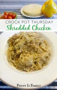 This recipe is the easiest and most delicious Crockpot Shredded Chicken, and is great in so many dishes! Use it for tacos, soups, nachos, salads, sandwiches, and more! My family loves this quick and easy dinner idea!