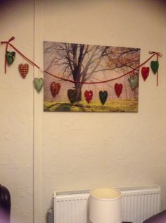 Padded heart shaped christmas bunting
