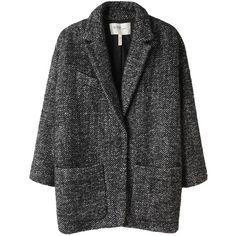 Étoile Isabel Marant Xavier Coat (€390) ❤ liked on Polyvore featuring outerwear, coats, jackets, coats & jackets, women, etoile isabel marant coat, leather-sleeve coats, tweed wool coat, cropped coat and padded coat
