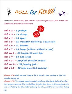 MORE Instant Activities for PE Roll fr Fitness, a popular Physical Education game to thrill kids of all ages.Roll fr Fitness, a popular Physical Education game to thrill kids of all ages. Physical Education Activities, Elementary Physical Education, Elementary Pe, Pe Activities, Fitness Activities, Educational Activities, Kids Education, Health And Physical Education, Physical Fitness