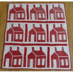 """Red & White Antique 1880's Schoolhouse Crib Quilt, 33 1/2 x 38"""", Vintage Blessings"""