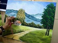 Como fazer os acabamentos da pintura na tela - How to painte landscape -...