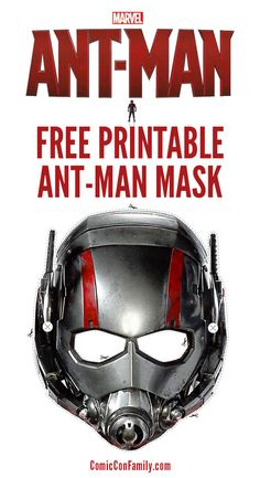 FREE printable Ant Man Mask for kids who love Ant-Man! Just print, cut, add string and the kids can have their own Ant-Man adventures.