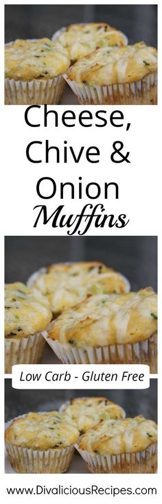 A moist cheese, chive onion muffin that is a great savoury start to the day. Baked with coconut flour these low carb & gluten free muffins are very moreish. Recipes - http://divaliciousrecipes.com/2012/07/03/cheese-chive-onion-muffin-low-carb/