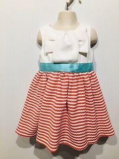 Rare Edition Girls Sleeveless Dress Sz Zip Back White Red Stripe Retro Summer Vintage Girls Dresses, Retro Summer, Retro Look, Red Stripes, Teal, Zip, Summer Dresses, Fashion, Moda