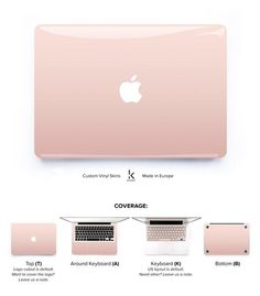 MacBook decal skin cover with rose gold ombre. Made to protect and look fabulous. Easy to apply with no bubbles and goo-free removal. Made in Europe.