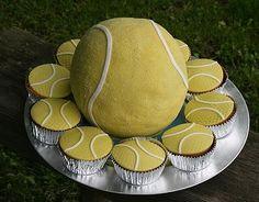 Tennis ball theme cake with matching cupcakes.JPG
