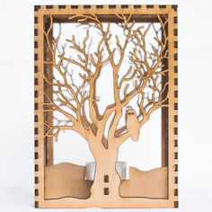 Barred Owl in Tree laser cut wood candle by SunbirdArtWorks