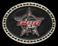 """PBR 2015 Black Star Buckle by Montana Silversmiths. An oval solid cast buckle has a black hourglass design along the edge separated by brass accents. A shiny black epoxy background highlights the red, black and silver PBR bull logo that is applied to the center.  Standard 1.5"""" belt swivel.  2.87"""" x 3.74"""".  All orders processed within 48 hours.  Please allow 7 business days to ship.  >>>All orders are via online purchase only!!!<<<"""