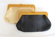 SOLD / Pair of #Vintage Woven Black & Ivory Clutch Purses / Plastic Frames / Kiss Lock Closure by VelouriaVintage on Etsy $30.00