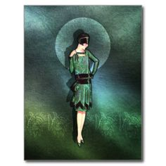 Charla - 1920s Fashion in Sage, Green and Aqua Post Card