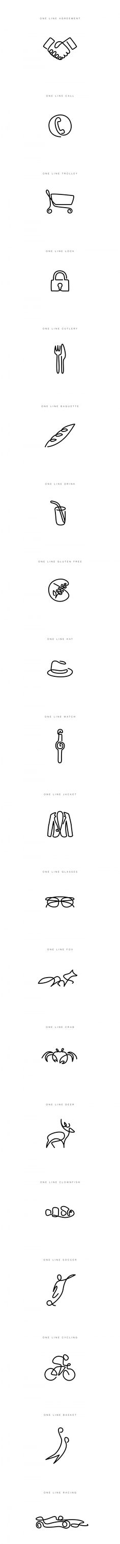One line icons