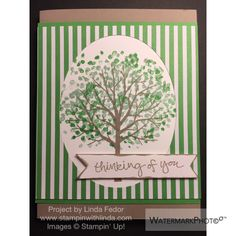 Thinking of You Summer Tree Card Using Stampin' Up! Sheltering Tree Stamp Set/ www.stampinwithlinda.com