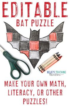 Make learning about bats fun with this EDITABLE bat activity for kids. Click through to make these into math centers, literacy games, vocabulary review, a foreign language activity, or anything else that fits into the boxes. Great for your 1st, 2nd, 3rd, 4th, 5th, 6th, 7th, or 8th grade elementary or middle school students. There's also a FREE download at the blog post. #HalloweenActivities #BatActivities #Elementary #MiddleSchool Bat Activities For Kids, Halloween Activities, Literacy Games, Grammar Activities, 3rd Grade Classroom, Middle School Classroom, Practice Math Problems, Halloween Math, Shape Puzzles