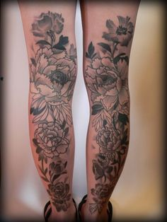 Peonies on the back of the legs... upper thigh.