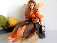 RESERVED for customer D.  Fairy cloth art doll autumn woodand poseable soft sculpture fairy wings