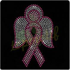 Breast cancer ribbon iron-on heat transfer