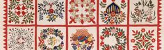 This appliqué album quilt was made by members of Old Otterbein Church in Baltimore in 1854