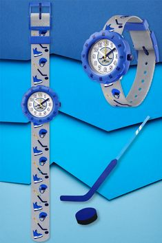 PUCK IT (ZFPSP046) is a Swiss watch for kids that will have them ready to hit the ice in style thanks to its funky blue rotating bezel and grey printed, machine-washable strap. Shock and water-resistant for lasting protection, this big player of the collection is a gift that will makes it fun to learn to read the time whilst not forgetting cool style. BPA free and Swiss made so it will never let you down. Let You Down, Let It Be, Swiss Watch, Learn To Read, Cool Style, Clock, Ice, Watches, Printed