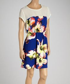 Look what I found on #zulily! Blue & Yellow Floral Dress #zulilyfinds