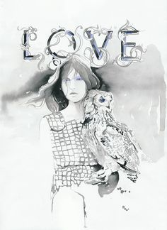 Watercolour Painting Original, Fashion Illustration watercolor Titled - Love Owl