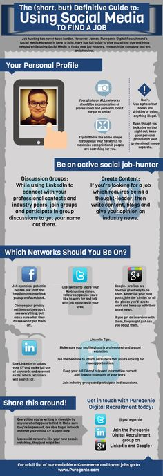 the definitive guide to using social media to job hunt, job hunting, social media, social, media, network, social networks, infographic, james r.c. smith, @jamesrcs