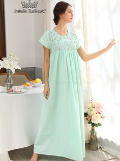 Miss Linda is elegant designs of intimate apparel, Serene comfort cotton nightgowns & soft and lightweight of luxury silk elegance womens sleepwear Sleepwear Women, Pajamas Women, Night Wear Dress, Cotton Nighties, Nightgown Pattern, Green Lingerie, Honeymoon Lingerie, Islamic Fashion, House Dress
