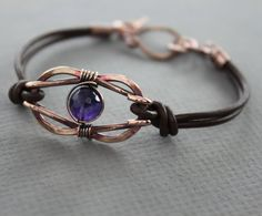 Knotted infinity copper bracelet with brown leather by IngoDesign, $32.00