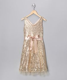 Take a look at this Speechless Gold Sequin Waist Tie Dress - Girls by Holiday Shine: Kids' Apparel on #zulily today!
