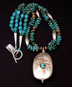 Easter Blue & Hachita Turquoise, Sterling and Copper Pendant Necklace