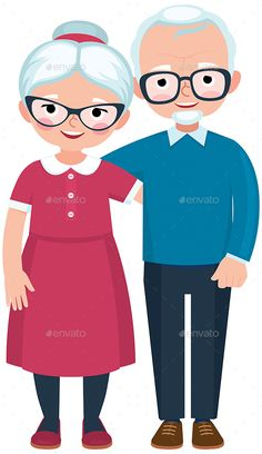 Buy Elderly Loving Couple by JelizaRose on GraphicRiver. Elderly loving couple husband and wife at full length are embracing on white background cartoon vector illustration Family Theme, Cute Family, Old Couples, Couples In Love, Cartoon Drawings, Easy Drawings, Couple Cartoon Characters, Grandparents Day Crafts, English Lessons For Kids