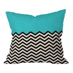 Teal and black chevron pillow