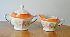 Cream And Sugar, Made In Germany, Rose Pattern by Collectitorium on Etsy Tostadas, Pink Roses, White Flowers, Orange Background, Cream And Sugar, Sugar Bowl, Gifts For Mom, Chips, Christmas Gifts