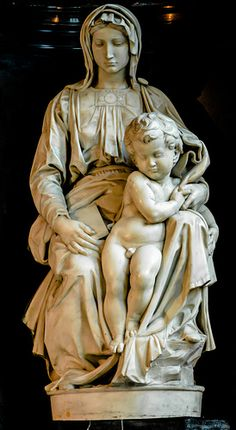 """Michelangelo - Madonna with Child, 1504 (Madonna of Bruges) at Church of Our Lady (Onze-Lieve-Vrouwekerk) Bruges Belgium. Watch """"Monument Men"""" before you visit; this statue has a key role in the story. Jan Van Eyck, Italian Renaissance, Renaissance Art, Bruges, Michelangelo, Miguel Angel, Statues, Sculpture Art, Sculptures"""