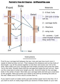 Fixed and cheap 20 DIY wall easel. Odd video but a great concept.or adapt for tripod mounting Art Studio Storage, Art Studio Organization, Art Storage, Art Studio At Home, Home Art, Diy Easel, Atelier D Art, Painting Studio, Studio