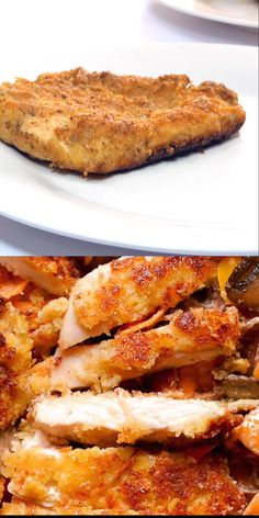 Parmesan Crusted Chicken is quick and easy recipe to add to your chicken dinner repertoire! Chicken cutlets are breaded in parmesan cheese and bread crumbs, and pan fried until crispy. Health Chicken Recipes, Breaded Chicken Recipes, Parmesan Crusted Chicken, Easy Chicken Recipes, Breaded Chicken Alfredo Recipe, Recipes With Chicken Cutlets, Healthy Breaded Chicken, Chicken Tenderloin Recipes, Coconut Chicken