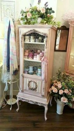 """Beautiful pink painted French display cabinet! """"Have you ever walked into a shop and just frozen on the spot, absolutely mesmerized by the beauty that surrounds you?"""" That's Madeleine L'Amour in Bountiful, Utah! 82 S. Main St, Bountiful UT 84010 (north of"""