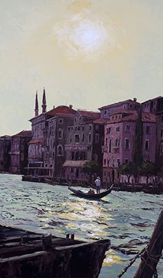 """'Sun Kissed Venice' ~ 60 x 36 Original Oil painting by artist Erin Dertner - From the artist: """"Magical Venice in backlit radiance. I've had the supreme fortune to visit this wondrous city on two occasions and found that every square inch of the place is paintable.""""   Available for sale $6200"""