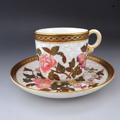 """* Specialty * 1879 work Royal Worcester """"flowers and butterflies dance"""" extremely rare precious trio - Britain Antiques"""