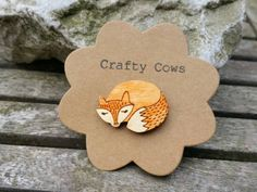 Sleeping fox brooch handpainted woodland by TheCraftyCowShed