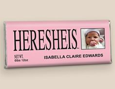 See HERESHEIS Birth Announcements: Chocolate Candy Bar Wrappers